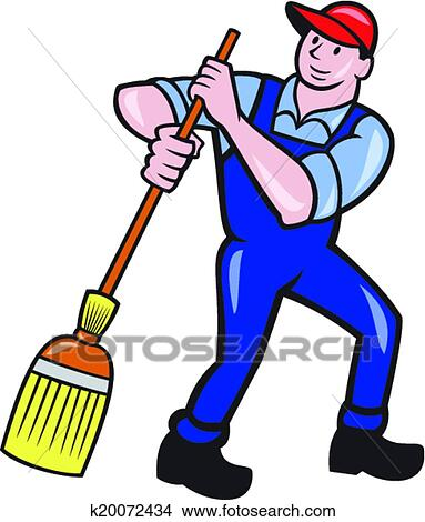Clip Art Janitor Clipart clipart of janitor cleaner sweeping broom cartoon k20072434 fotosearch search clip art illustration murals