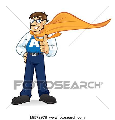 clip art of cartoon superhero geeks businessman k8572978 search rh fotosearch com clipart worried businessman businessman clipart png