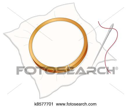 Clipart Of Embroidery Hoop Needle Thread K8577701 Search Clip