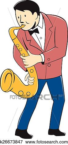 Clipart musicien saxophone jouant dessin anim - Dessin musicien ...