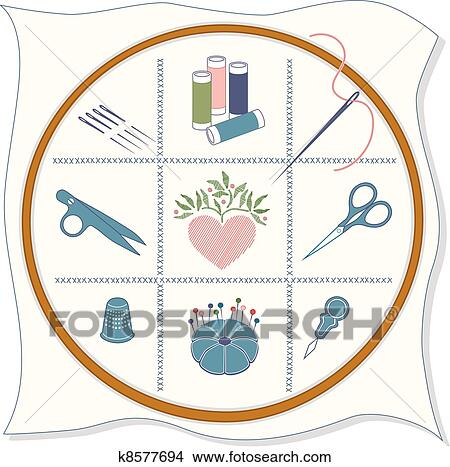 Clipart Of Embroidery Icons K8577694  Search Clip Art