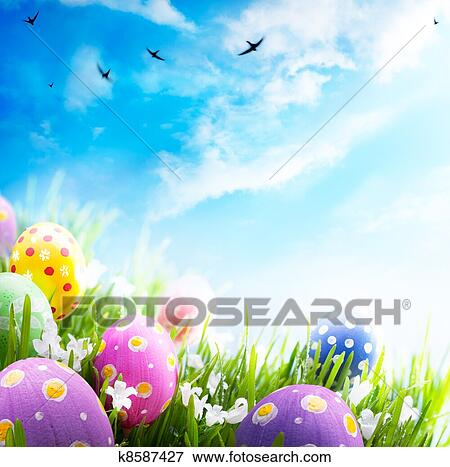 Picture Of Colorful Easter Eggs Decorated With Flowers In The