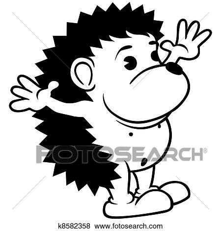 刺猬, -, 黑白, 卡通漫画, 描述, 矢量图片