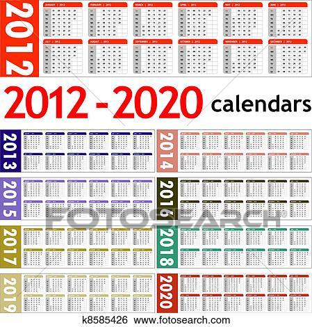 Clip Art of New year 2012 - 2020 Calendars k8585426 ...
