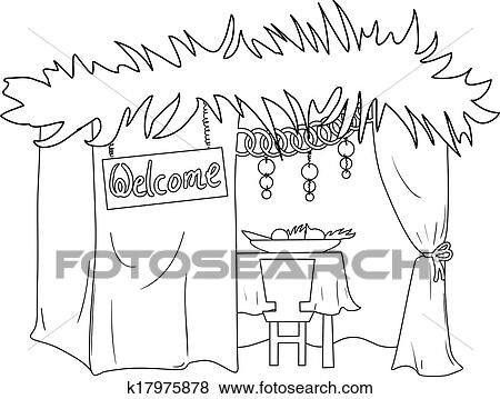 Clip Art of Sukkah For Sukkot Coloring Page k17975878 Search
