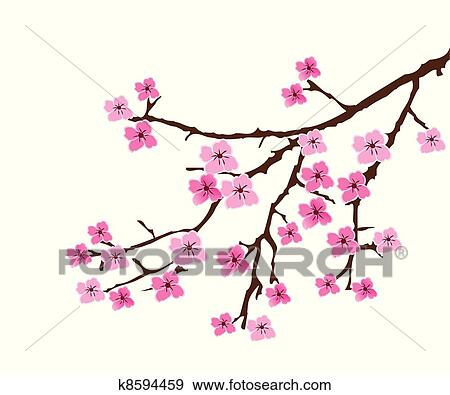 clip art of cherry blossom k8594459 search clipart illustration rh fotosearch com cherry blossom clipart free cherry blossom clipart