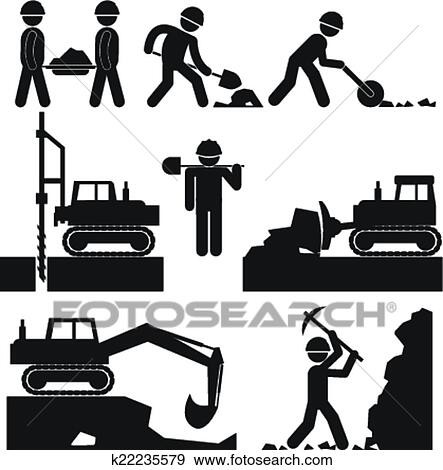 Clip Art of construction machine collection k6943629 - Search ...