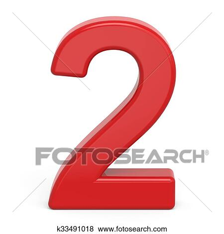 Red number 2 clipart