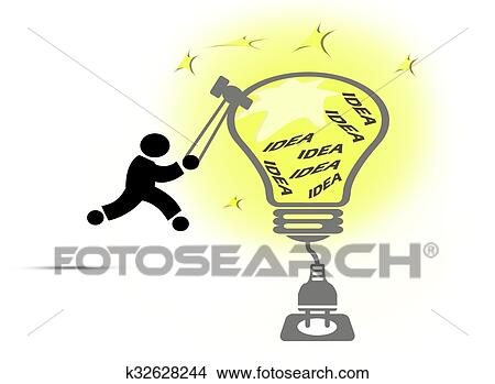 Drawings of Creative light bulb ideas concept k32628244 - Search ...