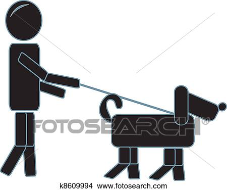 Stock Illustration of A man walking his dog in an apple orchard ...