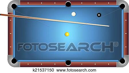 Clipart Of Realistic Billiards Pool Table Blue Felt Illustration