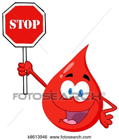 clip art of blood guy holding a stop sign k8613946 search clipart rh fotosearch com stop sign graphics morrisville stop sign graphic free