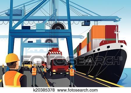 Clip Art of Shipping port scene k20385378 - Search Clipart ...