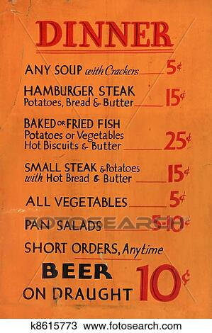 Early 1900s Dinner Menu Listing Souphamburgersteakvegetablessaladsand Beer Orange Background With Red And Black Lettering