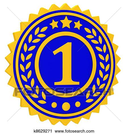 clipart of blue award for first place k8629271 search clip art rh fotosearch com first place clipart first place trophy clipart