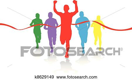 clip art of group of runners k8629149 search clipart illustration rh fotosearch com running clip art pictures running clipart