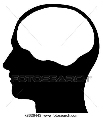 手绘图 - 男性的头, 侧面影象图片