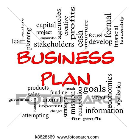 Stock Photograph Of Red Caps Business Plan Word Cloud Concept