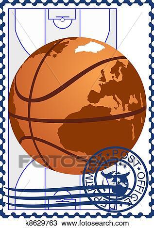 篮球, 在上, the, 篮球场, 背景.图片