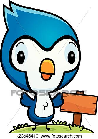 clipart of cartoon baby blue jay wood sign k23546410 search clip rh fotosearch com blue jay feather clipart blue jay clipart black and white