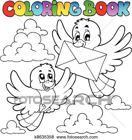 Clip Art of Coloring book birds with envelope k8635358 - Search ...
