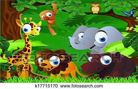 剪贴画 动物, 卡通漫画, 在中, the, 动物园