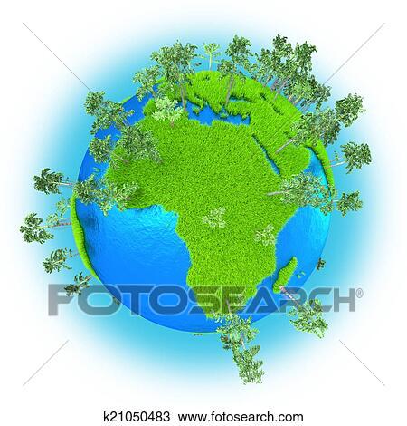 그림 - 아프리카, 와..., 서쪽 아시아, 통하고 있는, 행성 지구 ...