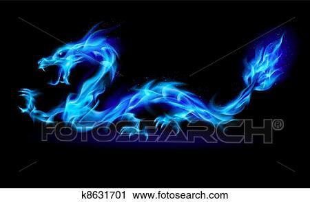 Clipart - azul, fogo, dragão. Fotosearch - Busca de Ilustrações, Clip Art, Desenhos, Ilustrações vetoriais e video clip de animação EPS.