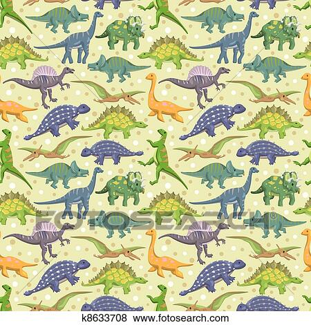Clipart seamless dinosaure mod le k8633708 recherchez des cliparts des illustrations des - Modele dessin dinosaure ...