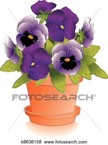 clipart lavande pens es pourpres pot fleurs k8638158. Black Bedroom Furniture Sets. Home Design Ideas