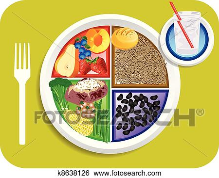 clip art of vegan dinner food my plate k8638126 search clipart rh fotosearch com plate of food clip art free plate of food clip art free