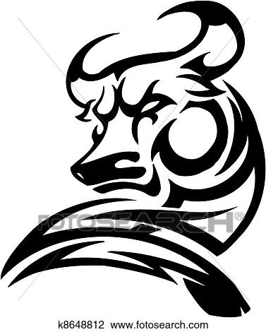 clipart of bull in tribal style vector image k8648812 search rh fotosearch com clipart tribal clipart tribal