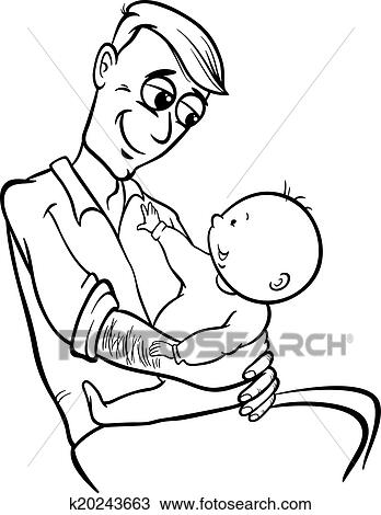 Clipart Of Father With Baby Cartoon Coloring Page
