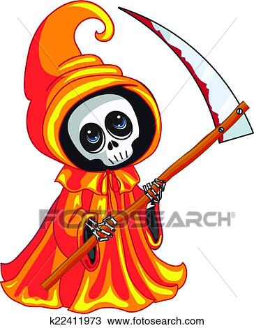 Scythe in his hands on white background view large clip art graphic