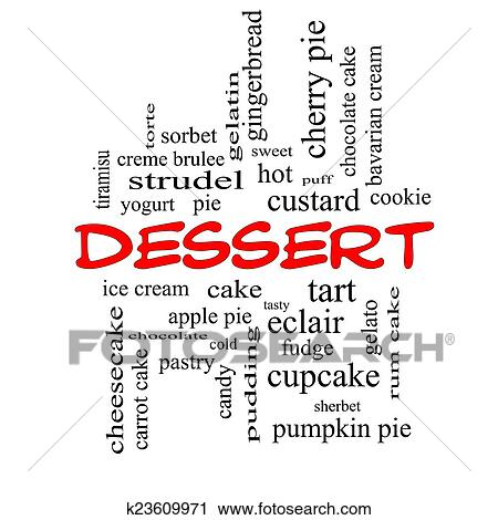 Cake Art Words : Clipart of Dessert Word Cloud Concept in red caps ...