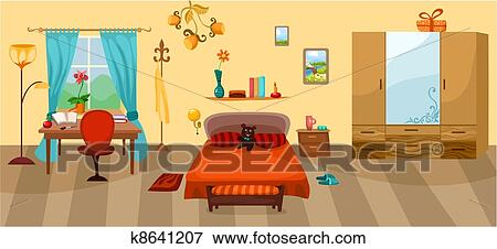 clipart chambre coucher k8641207 recherchez des cliparts des illustrations des dessins. Black Bedroom Furniture Sets. Home Design Ideas