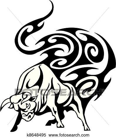 Clipart taureau dans tribal style vecteur image - Dessin de toro ...