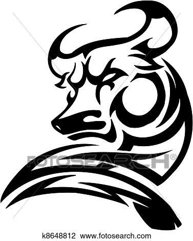 Clipart taureau dans tribal style vecteur image k8648812 recherchez des clip arts - Dessin tete taureau ...