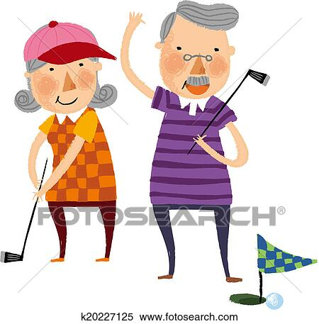 stock illustration of the view of old couple k20227125 search rh fotosearch com old married couple clipart happy old couple clipart