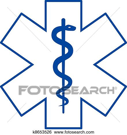 Clip Art Of Asclepius Medicine Symbol K8653526 Search Clipart