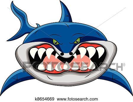 剪贴画 - 有趣, 鲨鱼, 卡通漫画图片