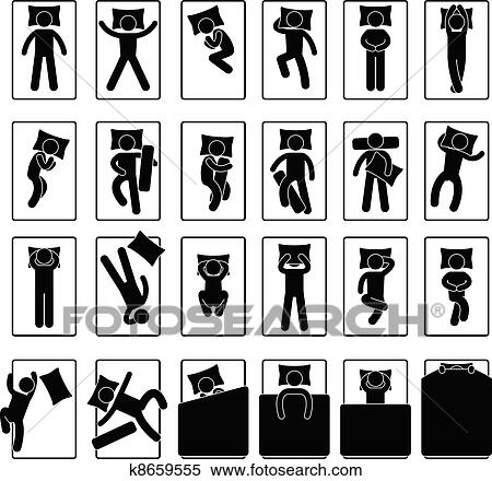 clipart sommeil position style attitude lit k8659555 recherchez des clip arts des. Black Bedroom Furniture Sets. Home Design Ideas