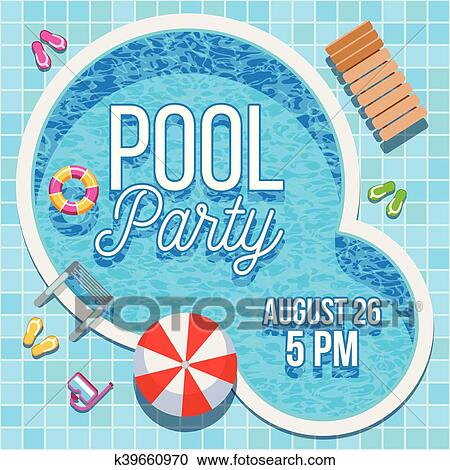 Clipart of Summer party invitation with swimming pool vector