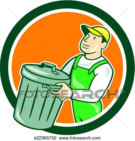 Clipart Of Garbage Collector Carrying Bin Circle Cartoon K22365752