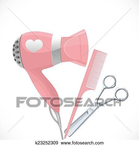 Pink Hair Scissors Clip Art