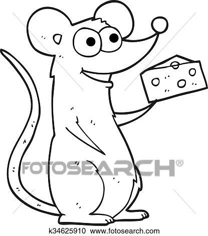 Käse clipart schwarz weiß  Clipart - schwarz weiß, karikatur, maus, mit, käse k34625910 ...