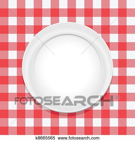클립아트 - 벡터, 빨강, 피크닉, 식탁보, 와..., 빈 광주리, 접시 ...