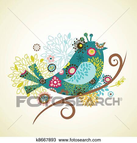 手绘图 - 贺卡, 带, 鸟