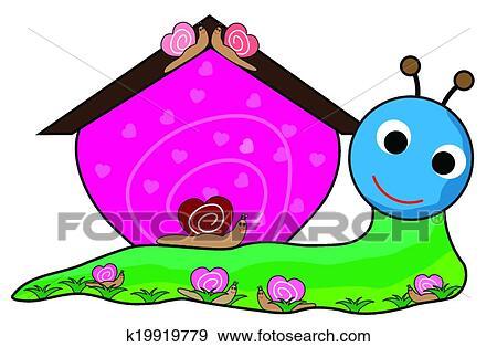 剪贴画 - 蜗牛, 房子
