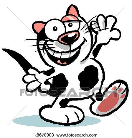 手绘图 - 漂亮, b&w, 卡通漫画, cat.wbg图片